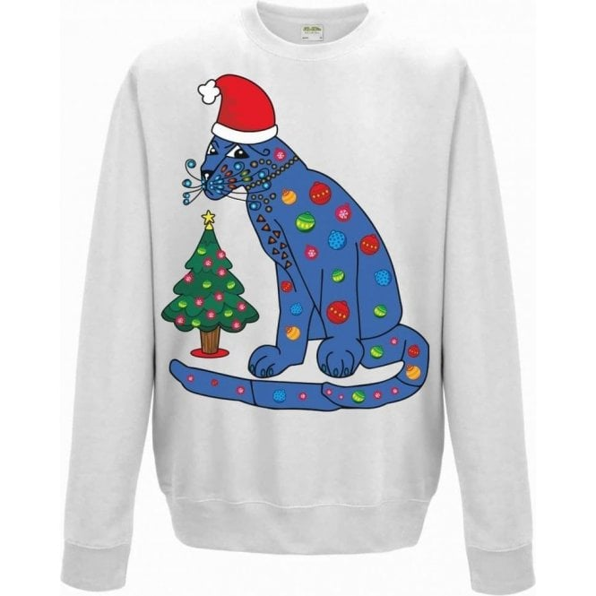 ABBA Blue Cat In A Christmas Hat Kids Jumper