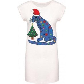ABBA Blue Cat In A Christmas Hat Women's Dress