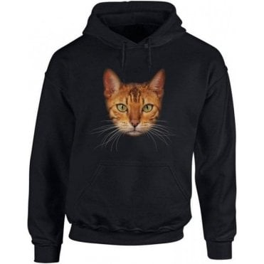 Bengal Cat Face Hooded Sweatshirt