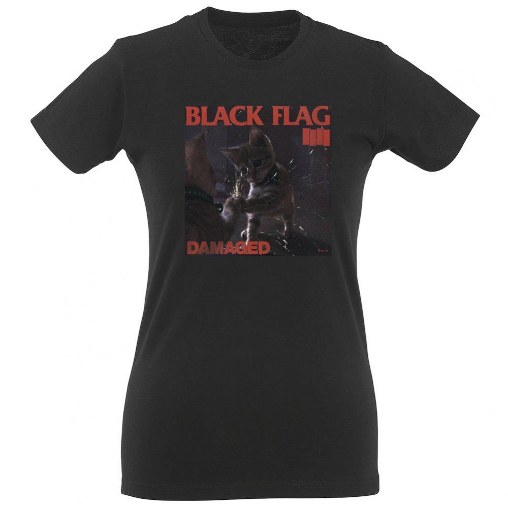 Black flag t shirt uk - Black Flag Kitty Women S Slim Fit T Shirt