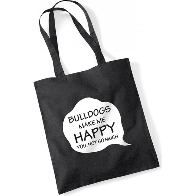 Bulldogs Make Me Happy Long Handled Tote Bag