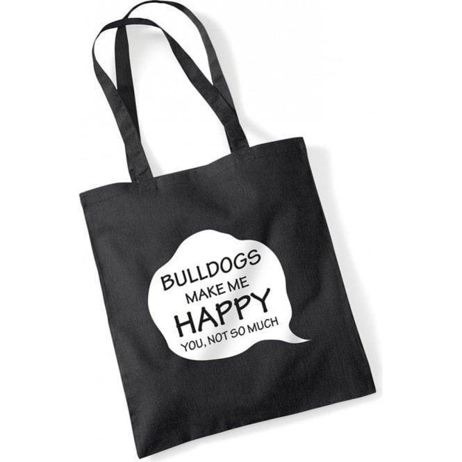 Bulldogs Make Me Happy Long Handled Tote Bag