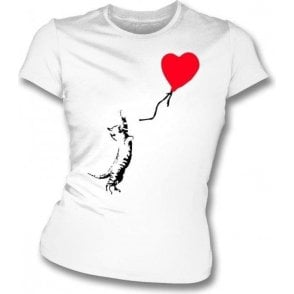 Cat (Banksy Art) Womens Slim Fit T-Shirt