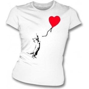Cat (Banksy Art) Womens Slim Fit T-Shirt