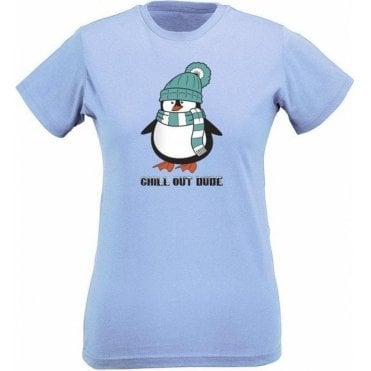 Chill Out Dude (Cartoon) Womens Slim Fit T-Shirt