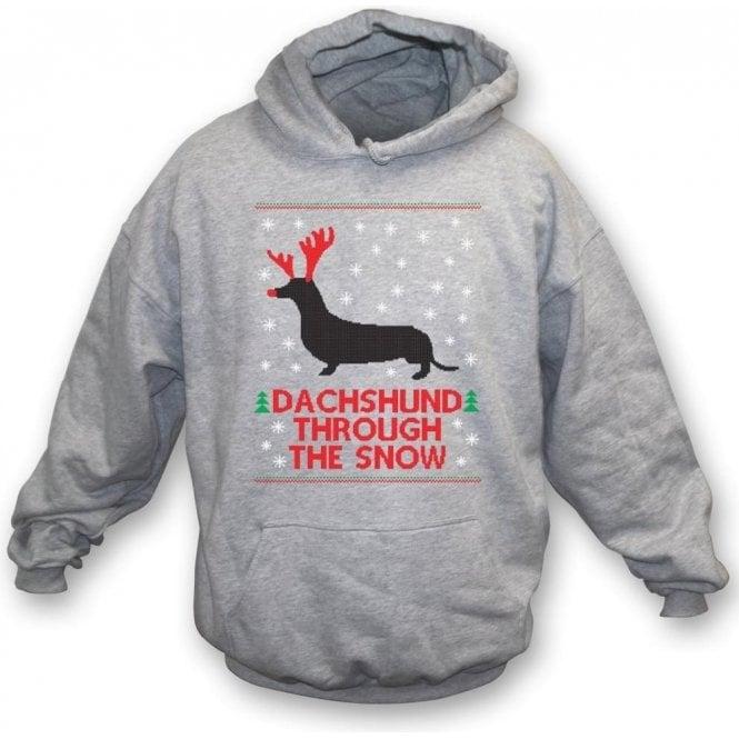 Dachshund Through The Snow Kids Hooded Sweatshirt