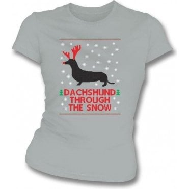Dachshund Through The Snow Womens Slim Fit T-Shirt