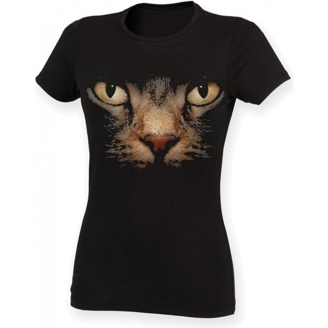 Faded Cat Eyes Womens Slim Fit T-Shirt
