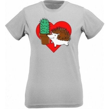 Hedgehog Cactus Womens Slim Fit T-Shirt
