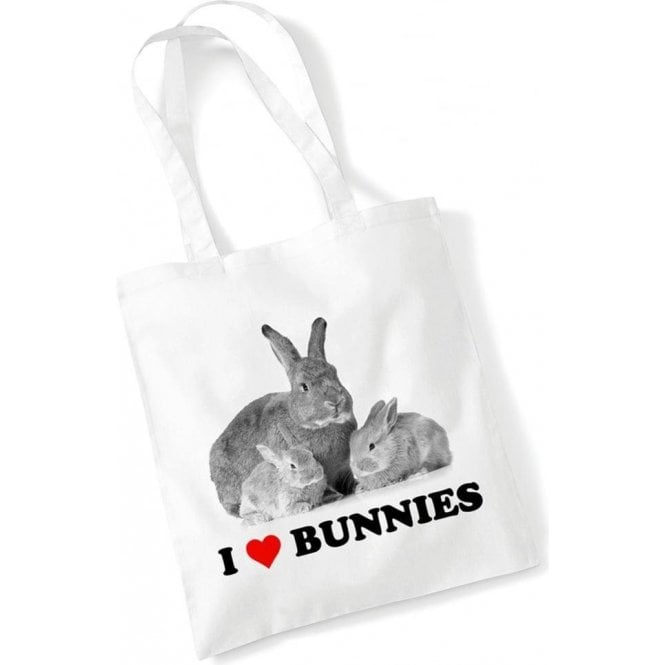 I Heart Bunnies Long Handled Tote Bag