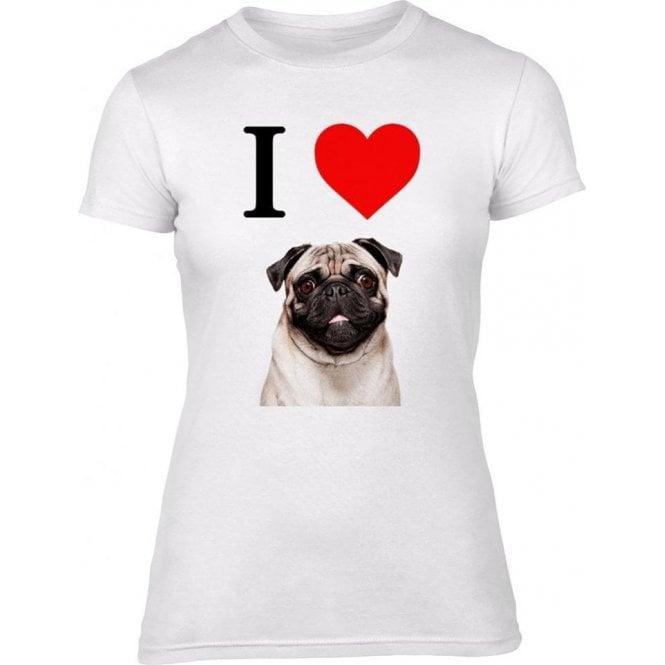 I Heart Pugs Womens Slim Fit T-Shirt