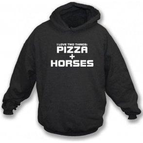 I Love Two Things: Pizzas & Horses Kids Hooded Sweatshirt