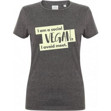 I'm A Social Vegan Womens Slim Fit T-Shirt