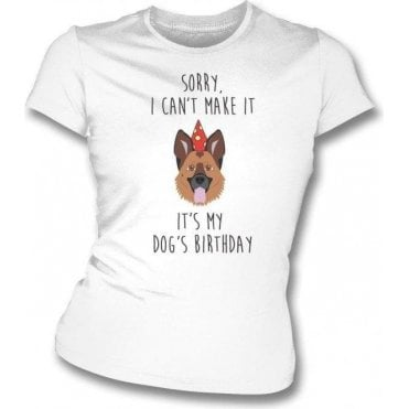 It's My Dog's Birthday (Alsatian) Womens Slim Fit T-Shirt