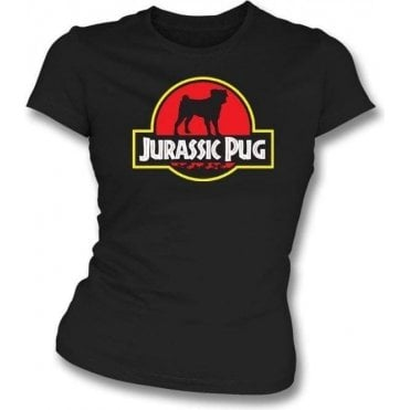 Jurassic Pug Womens Slim Fit T-Shirt