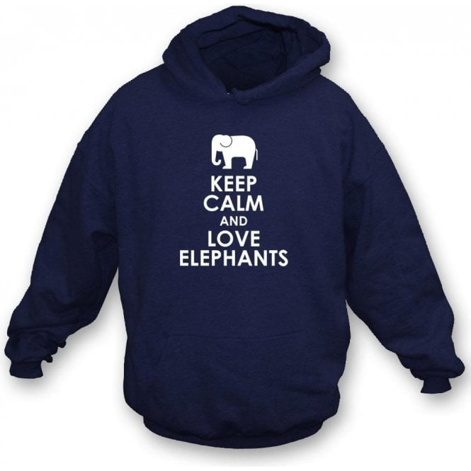 Keep Calm And Love Elephants Kids Hooded Sweatshirt