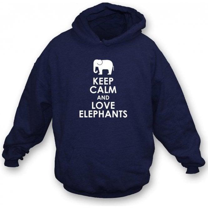 Keep Calm And Love Elephants Kids Hooded Sweatshirt