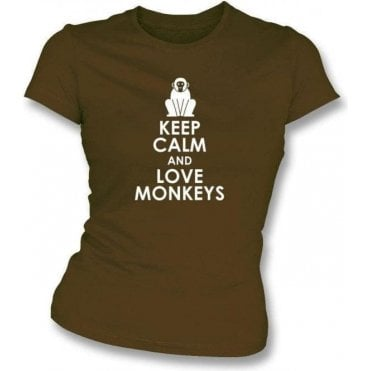 Keep Calm And Love Monkeys Womens Slim Fit T-Shirt