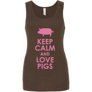 Keep Calm And Love Pigs Women's Baby Rib Tank Top
