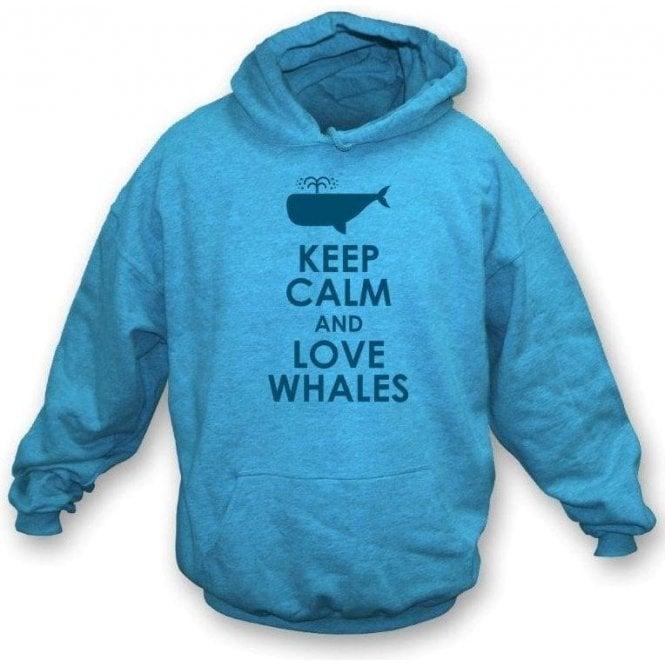 Keep Calm And Love Whales Kids Hooded Sweatshirt