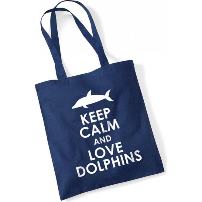 Keep Calm & Love Dolphins Long Handled Tote Bag
