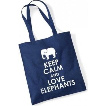 Keep Calm & Love Elephants Long Handled Tote Bag