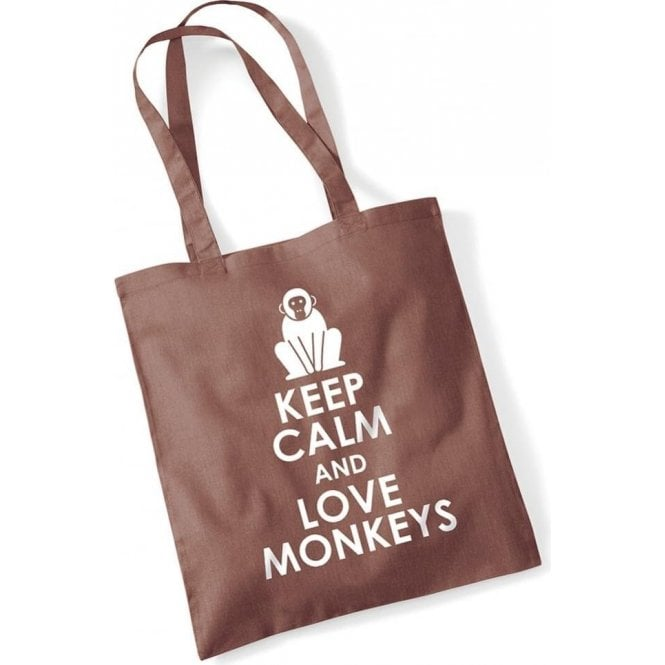 Keep Calm & Love Monkeys Long Handled Tote Bag