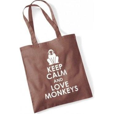 Keep Calm & Love Monkeys Long Handled Tote Bag