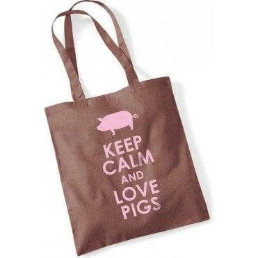 Keep Calm & Love Pigs Long Handled Tote Bag