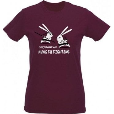 Kung Fu Bunny Womens Slim Fit T-Shirt