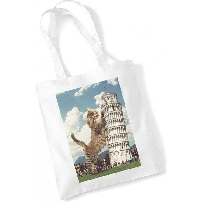 Leaning Tower Of Pisa Kitten Long Handled Tote Bag