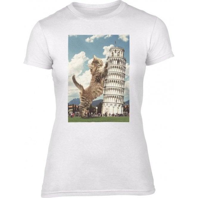 Leaning Tower of Pisa Kitten Women's Slim Fit T-Shirt