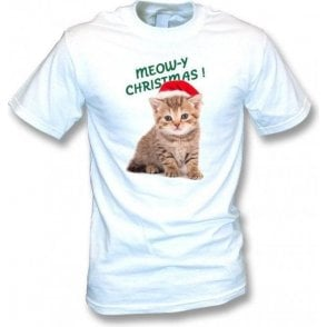 Meow-y Christmas! (White) Kids T-Shirt