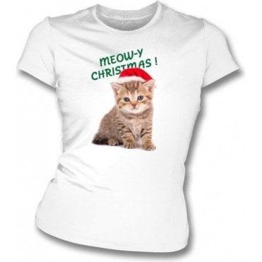 Meow-y Christmas! (White) Womens Slim Fit T-Shirt