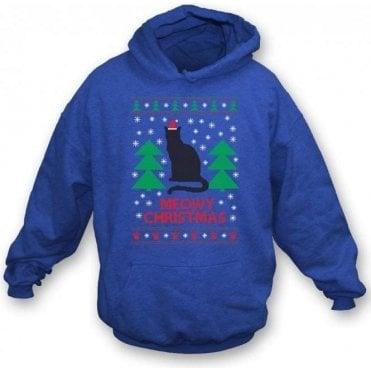 Meowy Christmas (Blue) Kids Hooded Sweatshirt