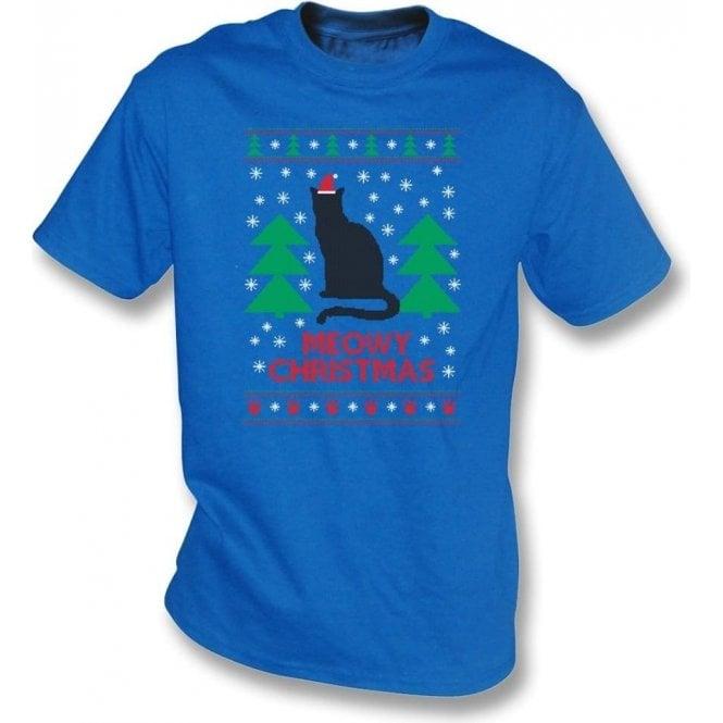 Meowy Christmas (Blue) Kids T-Shirt