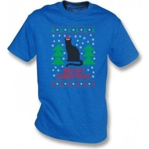 Meowy Christmas (Blue) Kids T-Shirt