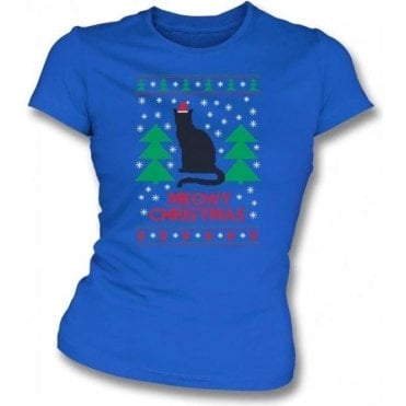 Meowy Christmas (Blue) Womens Slim Fit T-Shirt