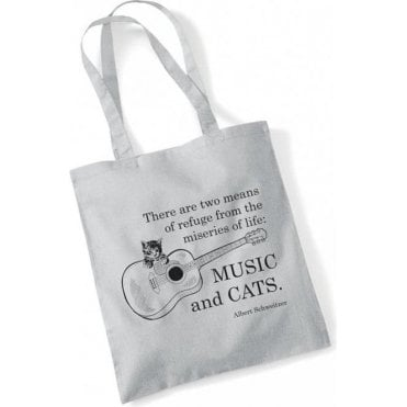 Music And Cats Long Handled Tote Bag