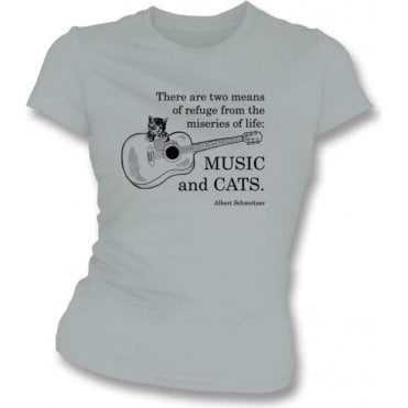 Music And Cats Womens Slim Fit T-Shirt