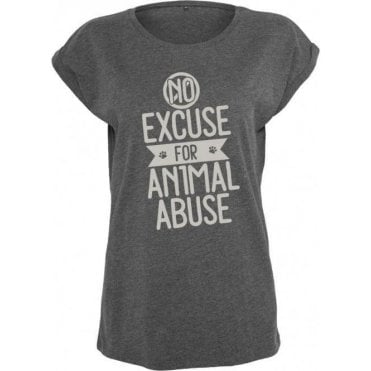 No Excuse For Animal Abuse Womens Extended Shoulder T-Shirt