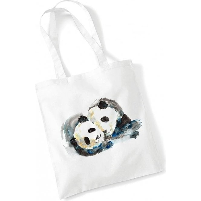 Pandas Watercolour Long Handled Tote Bag