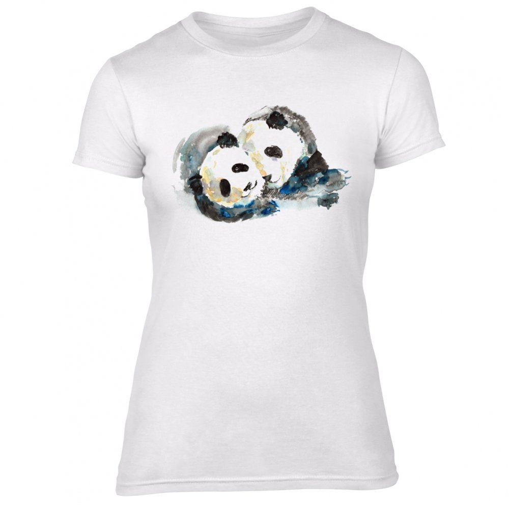 Pandas Watercolour Womens Slim Fit T Shirt Women From Animals Yeah Yeah Uk Chocker women necklace 925 silver old english name necklace personalized jewelry gift. animals yeah yeah
