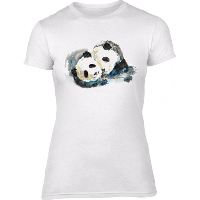 Pandas Watercolour Womens Slim Fit T-Shirt