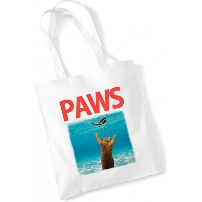 PAWS (JAWS Parody) Long Handled Tote Bag