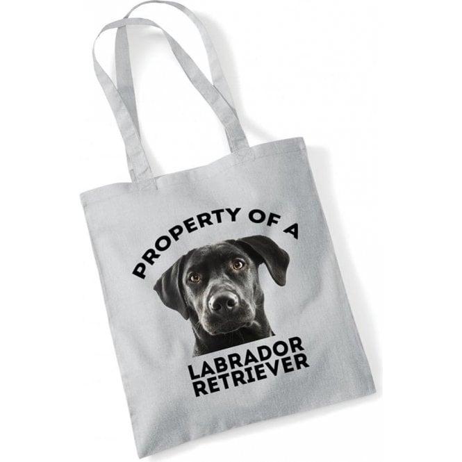 Property Of A Labrador Retriever (Grey) Long Handled Tote Bag