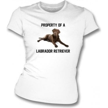 Property Of A Labrador Retriever (White) Womens Slim Fit T-Shirt