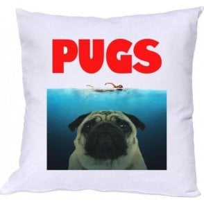 PUGS (JAWS Parody) Cushion
