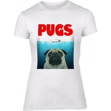 PUGS (JAWS Parody) Womens Slim Fit T-Shirt