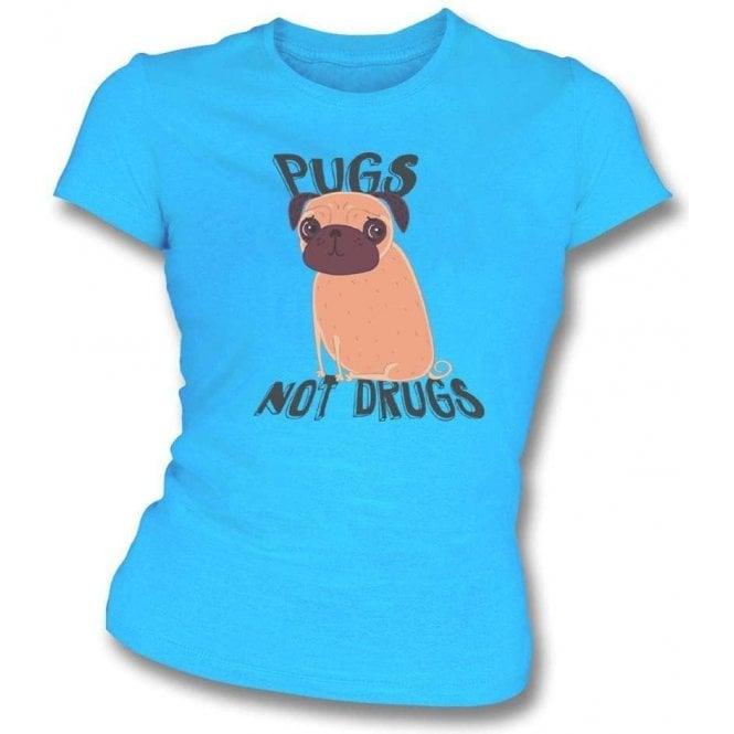 Pugs Not Drugs Womens Slim Fit T-Shirt